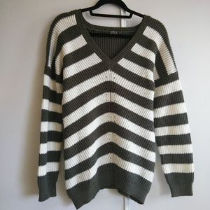 Poof! Green and Ivory Striped V-Neck Sweater